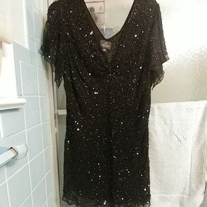 Adrianna Papell black sequined evening top